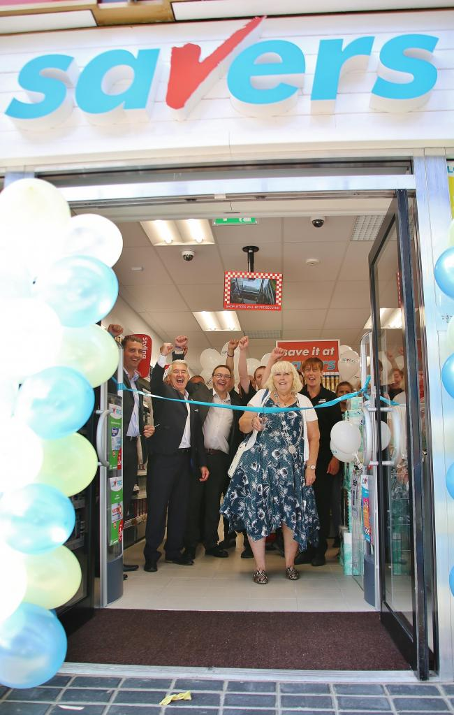 Cllr Angela Symonds and the Savers team at the opening of the new shop in Thornbury