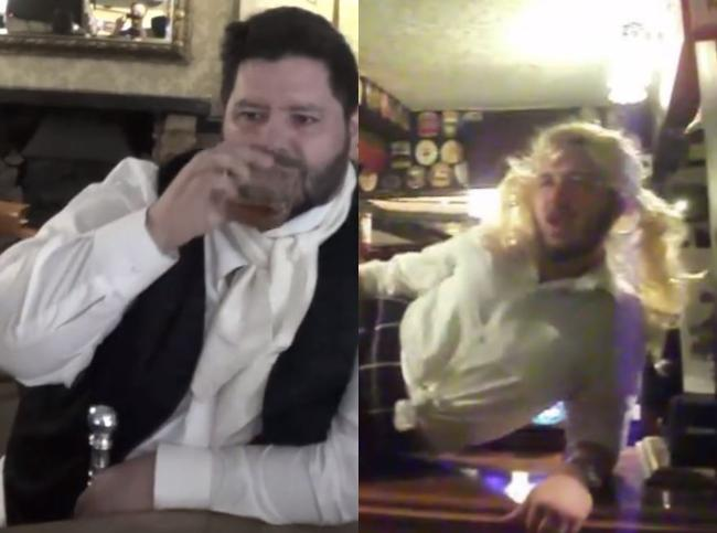 Wotton pub lip sync battle. Left: Andrew Starling as P. T. Barnum and, right: Robin Heap as Britney Spears