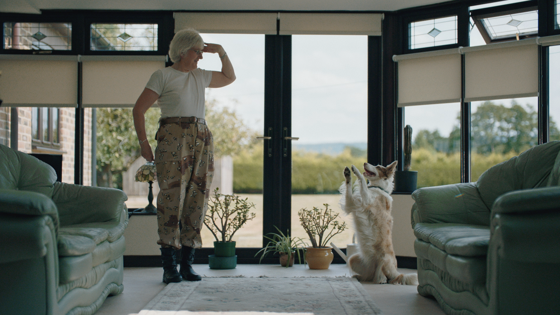 A still of Jill Davis and her border collie Demelza from John Grant's Love Is Magic video