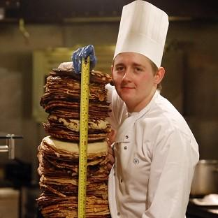 Gazette Series: Chef Sean McGinlay attempts a world record to create the world's tallest pancake stack