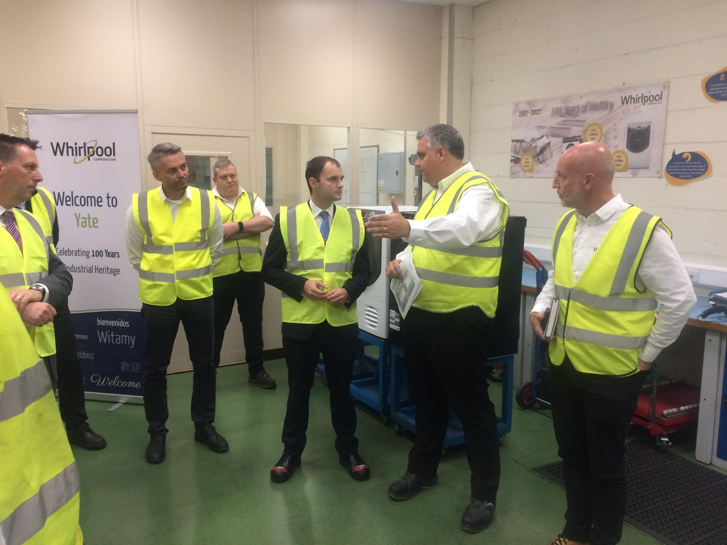 MP Luke Hall made a visit to South Gloucestershire business Whirlpool