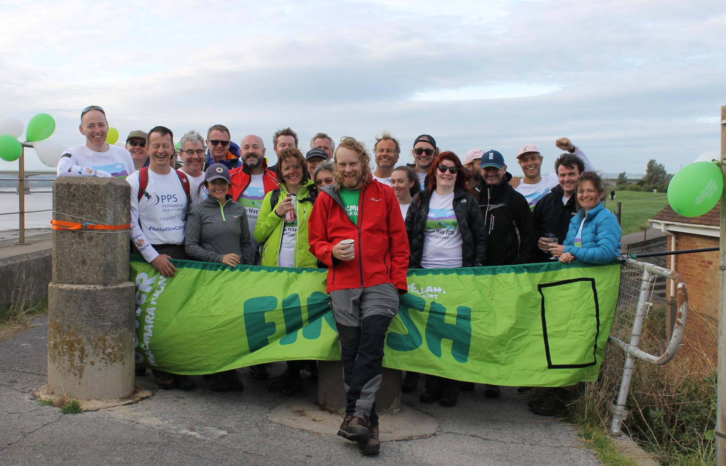 Martyn Wells with supporters who joined him on his trek along the River Severn