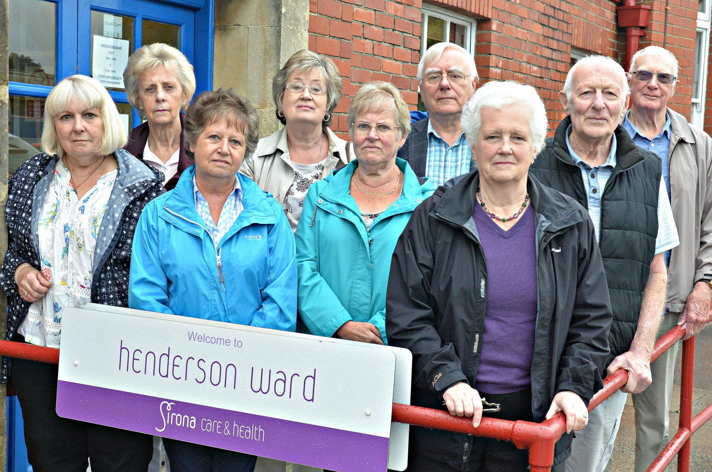 Shirley Holloway, centre, Chairman of Thornbury Hospital League of Friends with other members of the Friends outside Henderson Ward