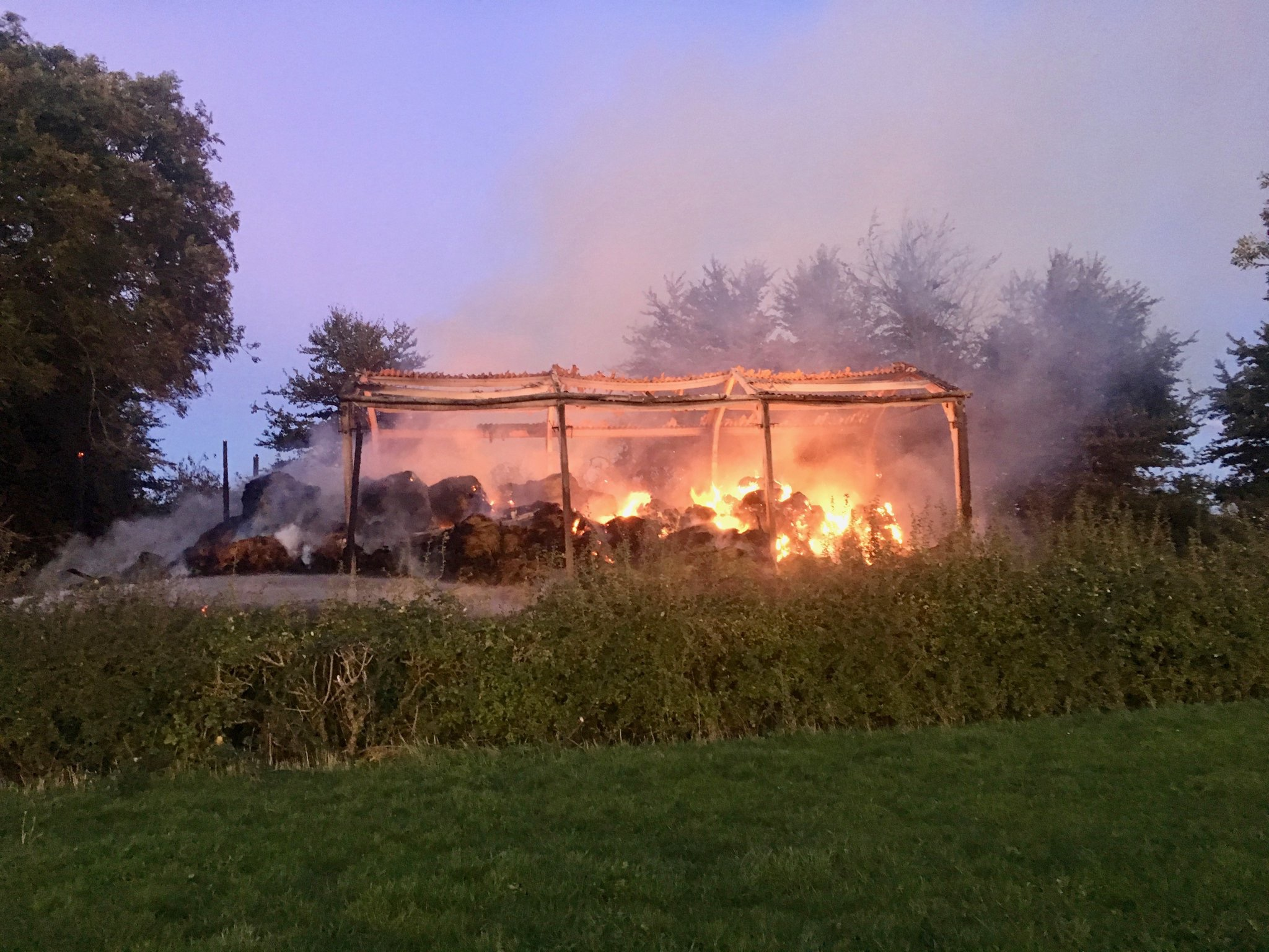 The fire service were called to a barn fire in Ingst. Photo:  Thornbury Fire Service