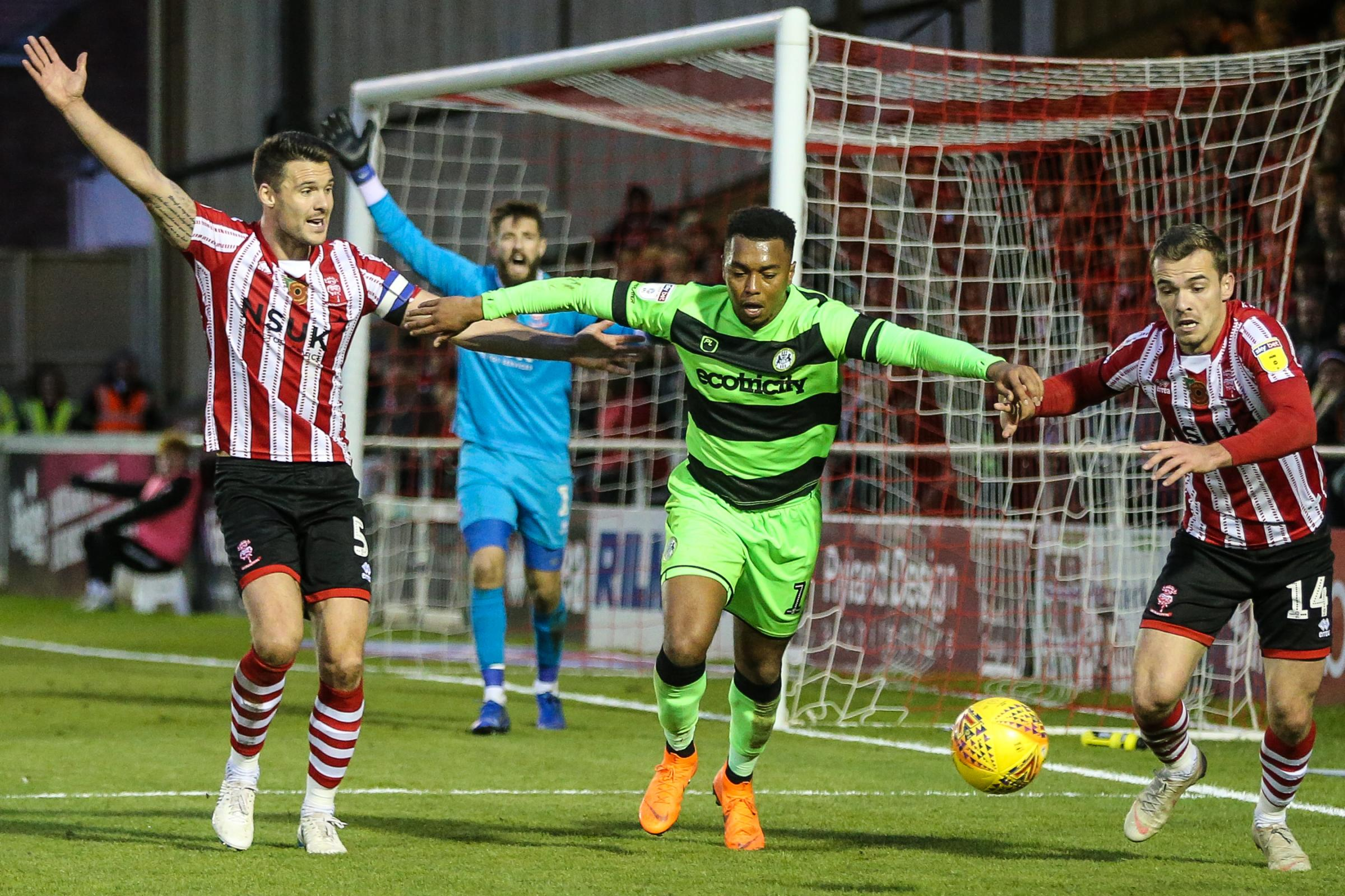 Forest Green Rovers Tahvon Campbell(14) during the EFL Sky Bet League 2 match between Lincoln City and Forest Green Rovers at Sincil Bank, Lincoln, United Kingdom on 3 November 2018.