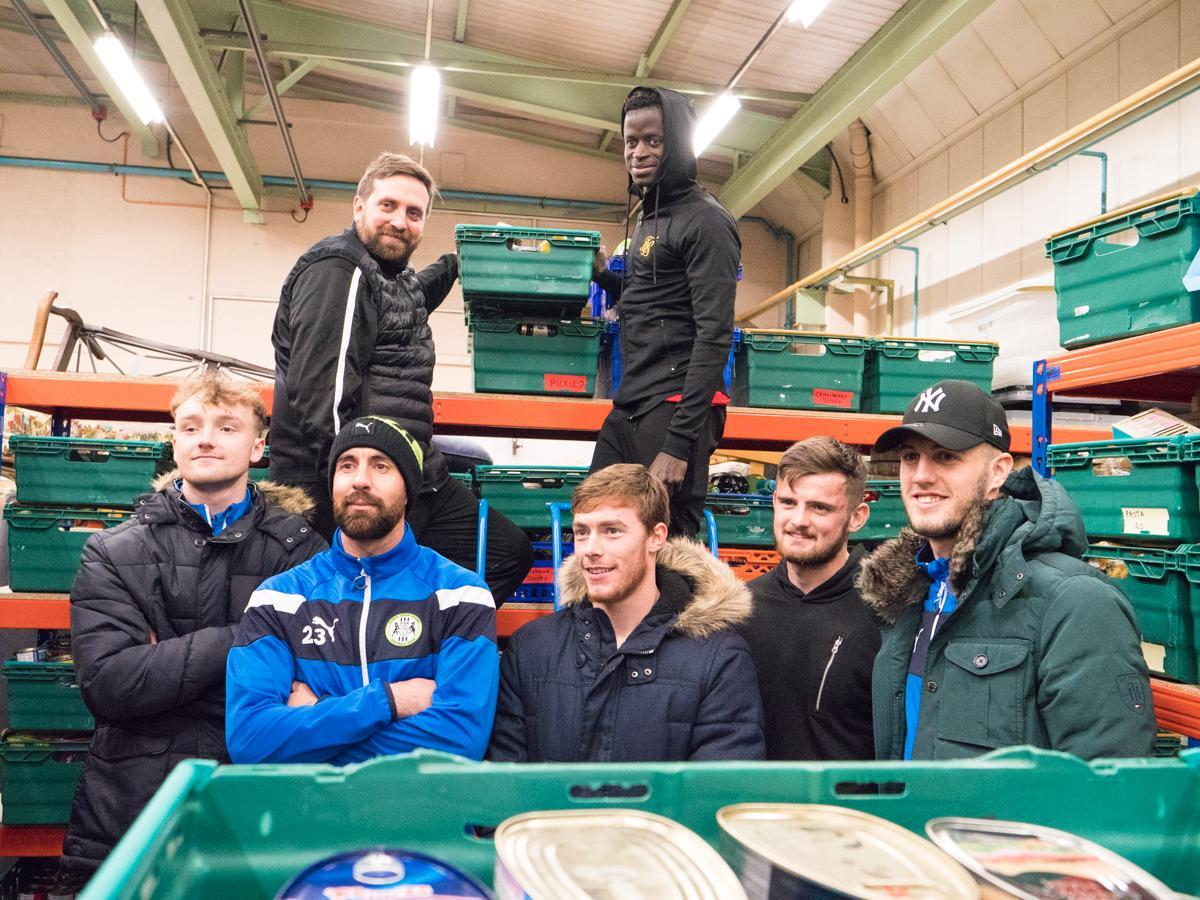 FGR players helping at the Stroud District Foodbank in November last year