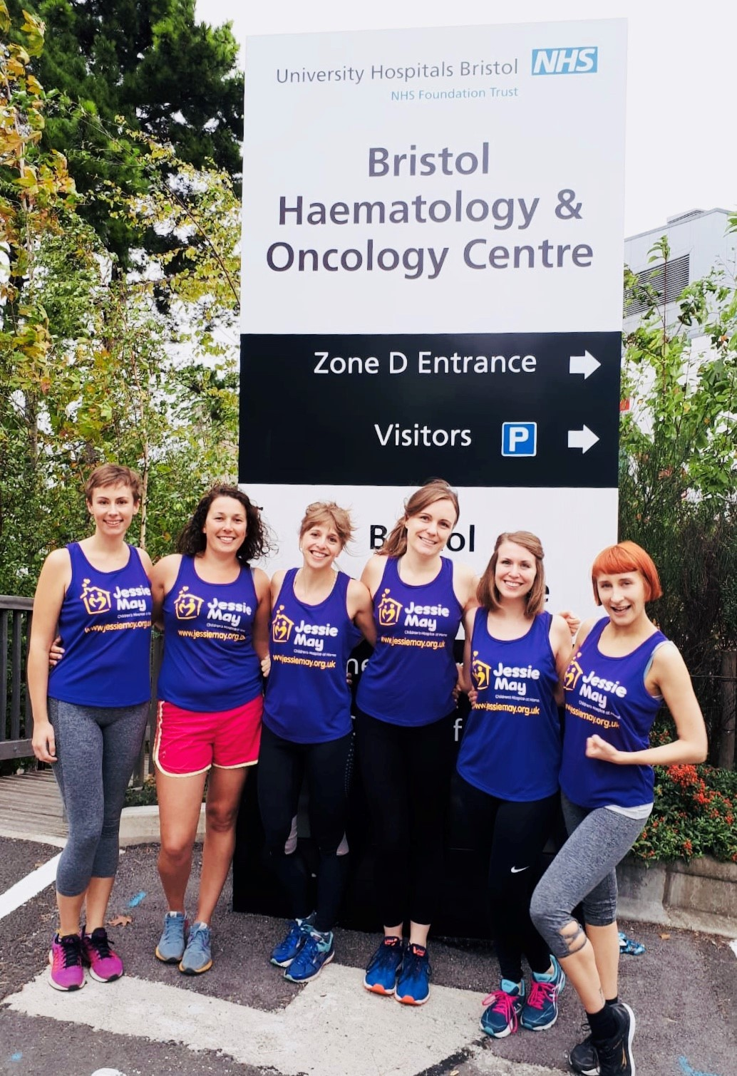 From left to right: Bristol Haematology and Oncology Centre Therapy Radiographers Amy Richardson, Ellie Cradock, Sarah Herbert, Emily Duguid, Sophie Owens and Lauren Beckett, who are taking on the Sodbury Slog for Jessie May