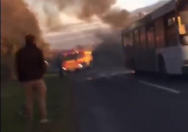 School bus on fire