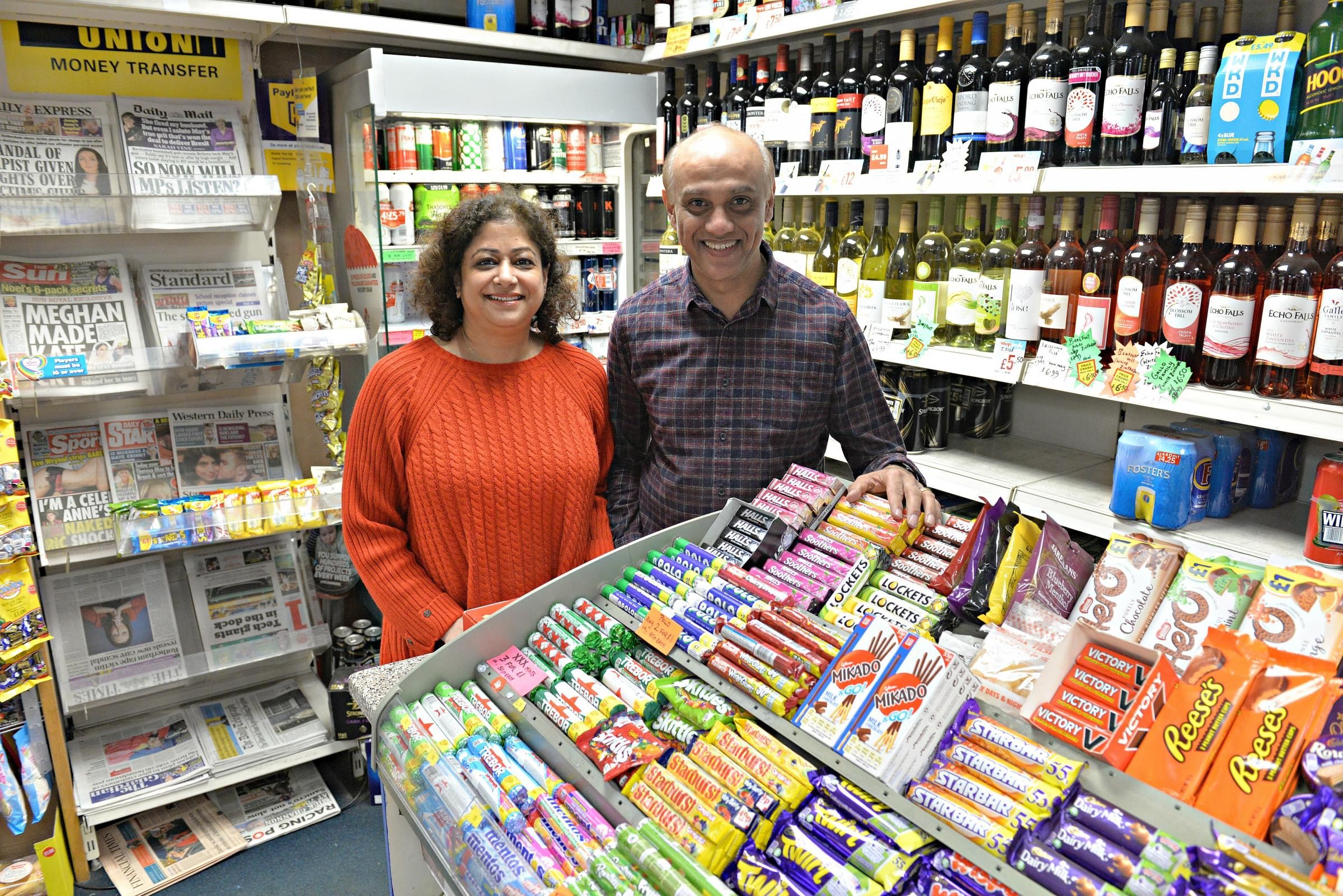 Tika and Vijay Patel celebrating 30 years of their business, the Newscentre, in Dursley.
