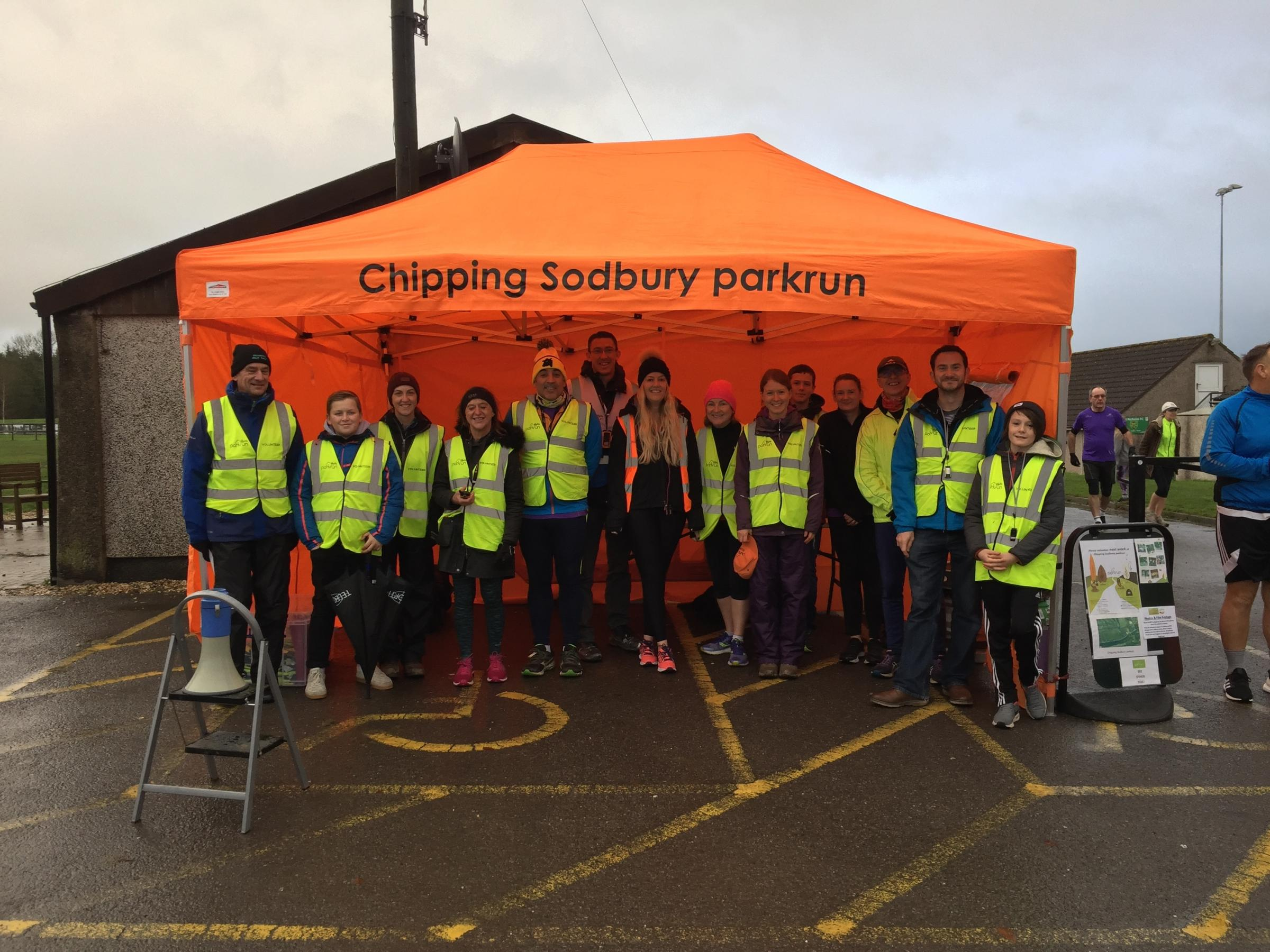 Chipping Sodbury Parkrun organisers with their new gazebo