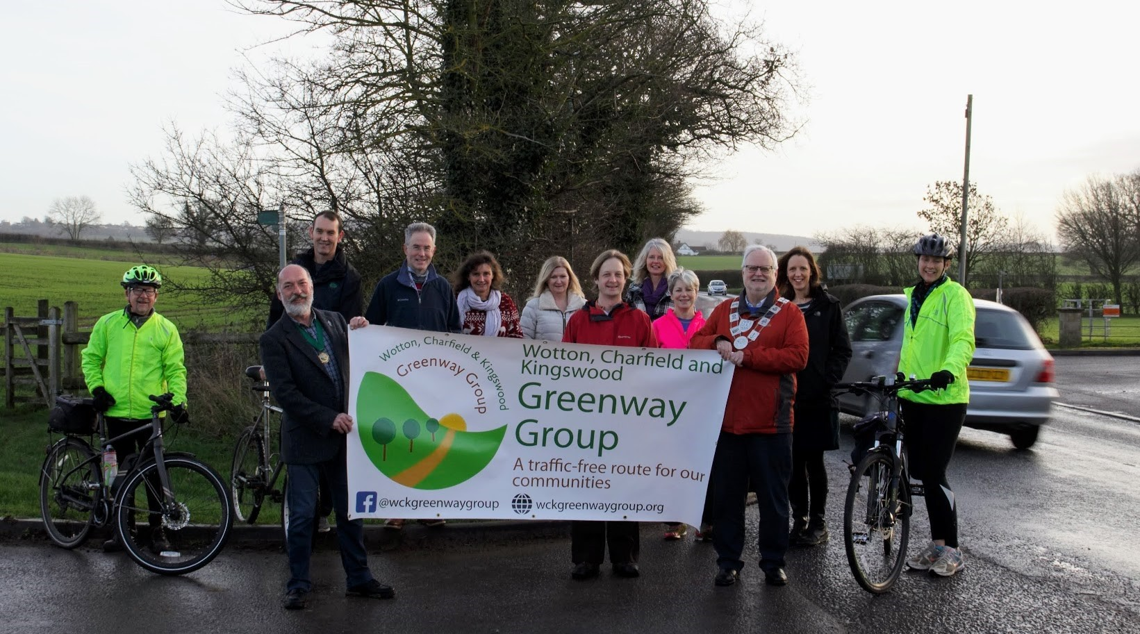 Greenway group, including the Mayor of Wotton, Cllr Paul Smith, and Chair of Charfield Parish Council, Cllr Mark Rosher