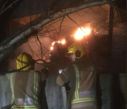 Firefighters at the scene of the barn fire. Photo: Thornbury Fire Station