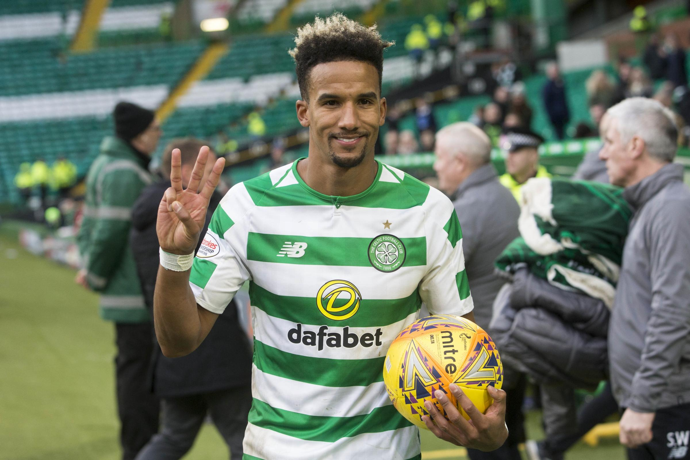 Scott Sinclair earned the match ball with a hat-trick in Celtic's 5-0 William Hill Scottish Cup fifth round win over St Johnstone