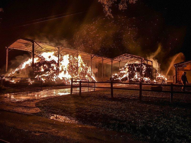 A fire in barn that burned for two days near Badminton in October was believed to have been started on purpose. Picture by Yate fire station