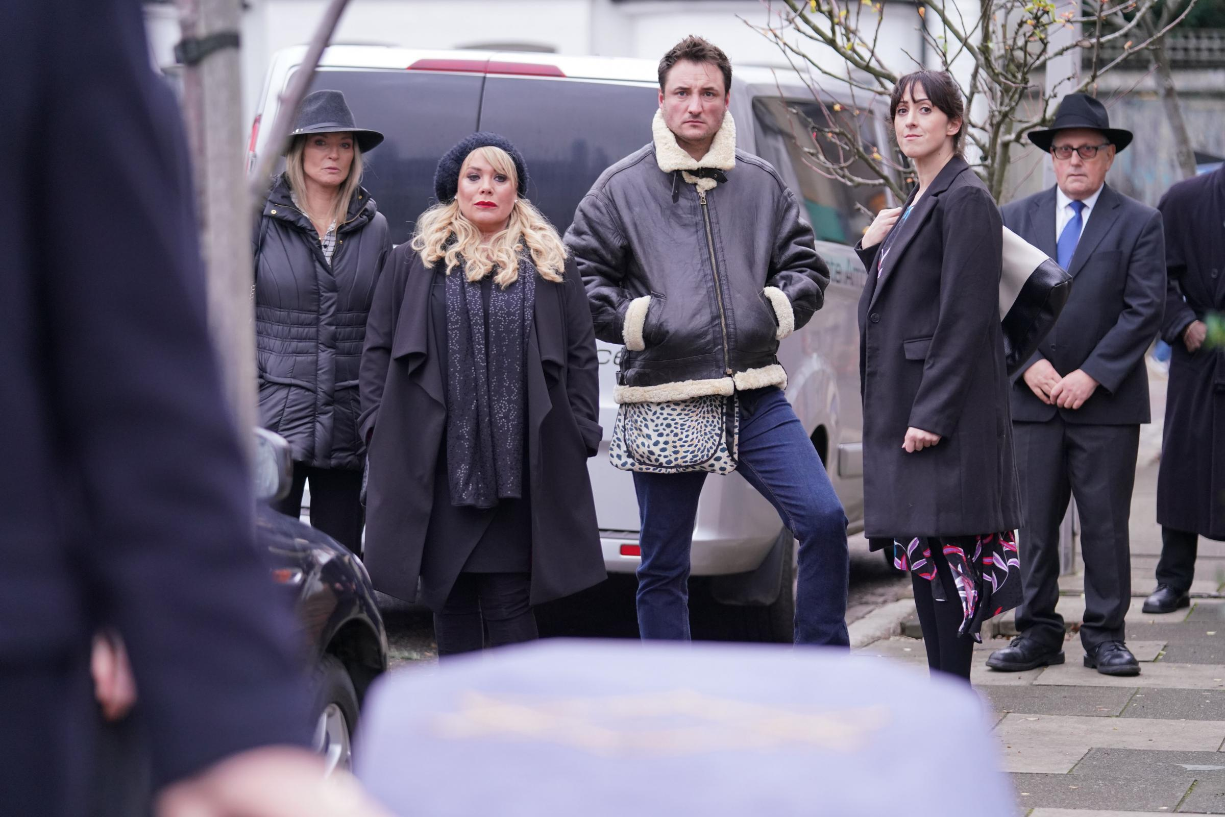 EastEnders characters gather for the funeral of Dr Legg