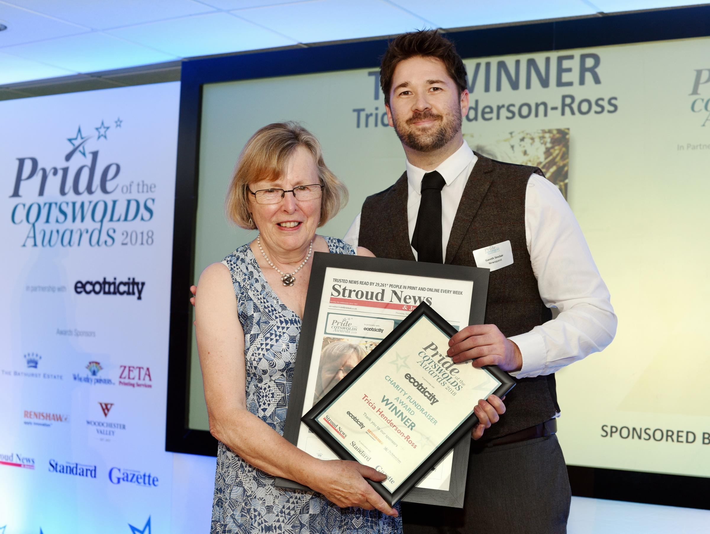 SEPT 20  2018         ....PHOTOGRAPHER  Simon Pizzey ....Tricia Henderson Ross recieves her award for Chrity Fund Raising from Wilts and Glos Display Manager Gareth Sinclair........Pride of the Cotswolds Awards,  at  Forest Green Rovers....