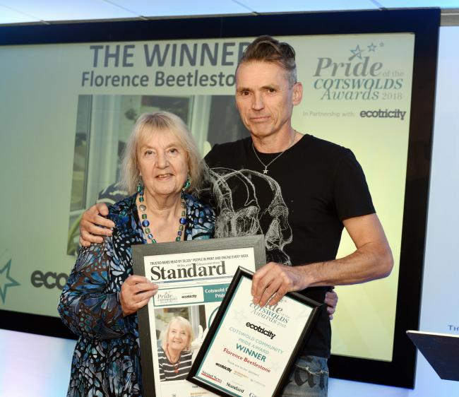 Dale Vince presents Florence Beetlestone with one of the two awards she won on the evening  Cotswold Community Pride Award, the other was  Best Community Project of the year  for the Cotswold Hares Trail.