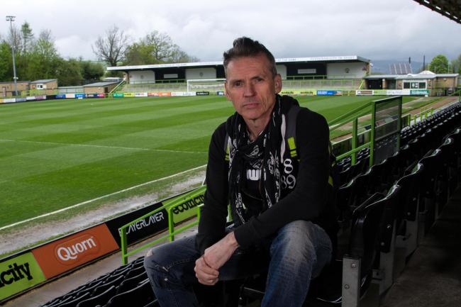 Dale Vince, Chairman of Forest Green Rovers poses during a photocall after he earns a role as a United Nations Ambassador at New Lawn Stadium, Nailsworth, Gloucestershire on 24 April 2019.  - PHOTO: Tom Sandberg/PPAUK.